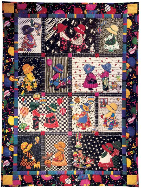 Sunbonnet Sue Calendar Girl quilt by Marti Mitchell :  link to free patterns for Sue and Sam