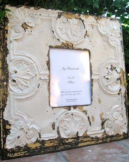 Great gift idea for a mom who loves vintage/antique items - ceiling tiles turned into frames