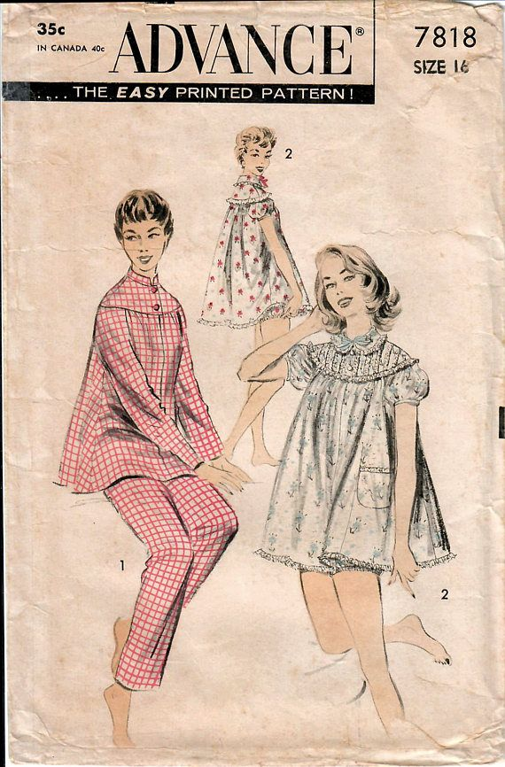 1950s Advance 7818 Vintage Sewing Pattern Misses Pajamas, Shortie ...