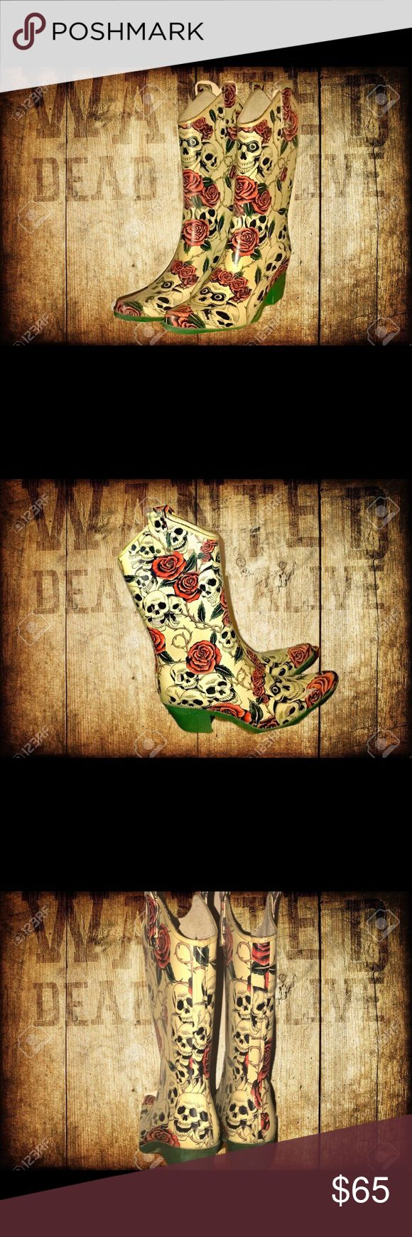 "🌹NOMAD-Yippee Dippy- Super Stylish Rain Boots☠️ ☠️ NOMAD-Yippee Dippy- Super Stylish Rain Boots 🌹Durable and Comfortable Rain Boots by Nomad COWBOY STYLE RAIN BOOTS with SKULLS & ROSES...green, red, black, beige background. PRE-OWNED EXCELLENT CONDITION  Color Print Rubber Heeled Mid Calf Cowboy Rainboot. Sole 10""  /  Heel 2""  /  Boot Height 13"" Nomad Footwear Shoes Winter & Rain Boots"
