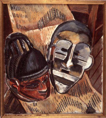 "African art inspired, the 1932 work ""Negro Masks"" by Malvin Gray Johnson"