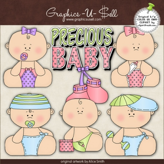 Precious Babies 1 - Whimsical Clip Art by Alice Smith
