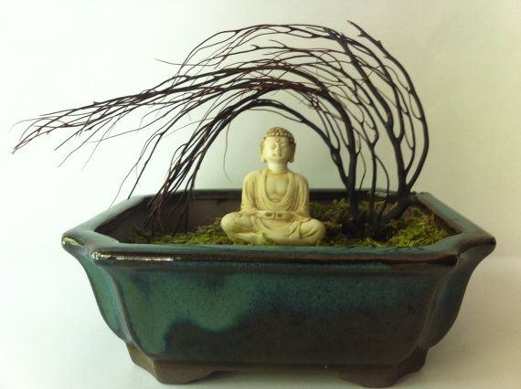 Zen terrarium handmade with miniature Buddha by SecretJardens