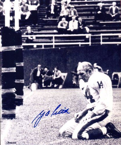 Y.A. Tittle Famous 1964 Photo Autographed/ Original Signed 8x10 Picture of the Kneeling Quarterback Bloodied and Without Helmet After Being Knocked Down Against the Pittsburgh Steelers in the Final Season of His Career - Tittle Played for the Baltimore Colts, San Francisco 49ers, and New York Giants - Great Signature by Original Sports Autographs. $29.99. Famous 1964 photo of NY Giants Quarterback YA Tittle is nicely signed for posterity!  8x10 black & white photo shows ...