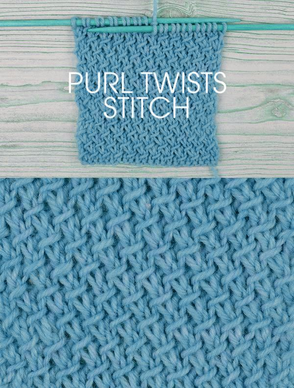 Free instructions - How to Knit the Purl Twists Stitch. 4 row, 2 stitch repeat. http://www.awin1.com/cread.php?awinaffid=234273&awinmid=5626&p=https%3A%2F%2Fus.deramores.com%2Fblogs%2Fderamores-blog%2Fstitch-of-the-week-purl-twists