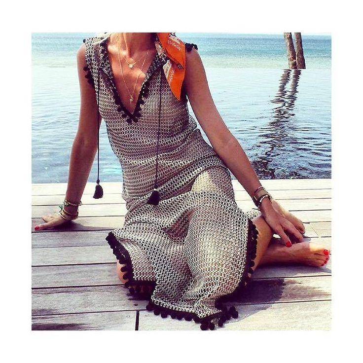 "The perfect #vacation style dress!Stylish Anna Skoog wearing our ''Semele"" long beach crocheted dress #ancientkallos #resortwear #beachwear #beachdress #vacationstyle"