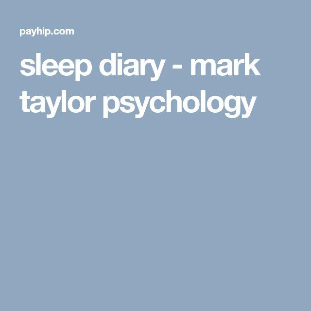sleep diary - mark taylor psychology