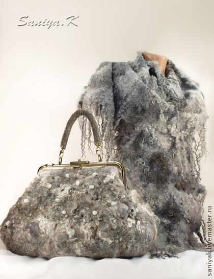 """Bag and scarf """"Gray Whirlwind""""."""