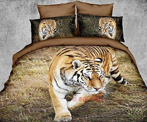Black White Tiger Animal 3D Duvet Quilt Cover Polyester Printed Bedding Set