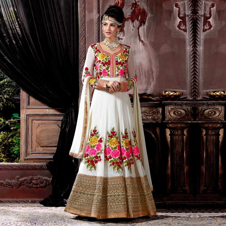 Buy Off White Floral Embroidered Anarkali Suit for womens online India, Best Prices, Reviews - Peachmode