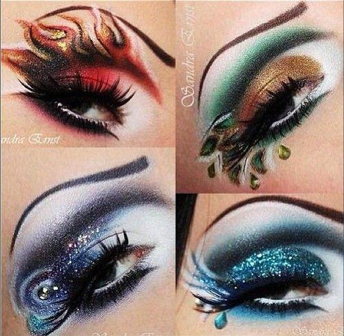 Beautiful eye makeup representing fire, earth, air, and water!