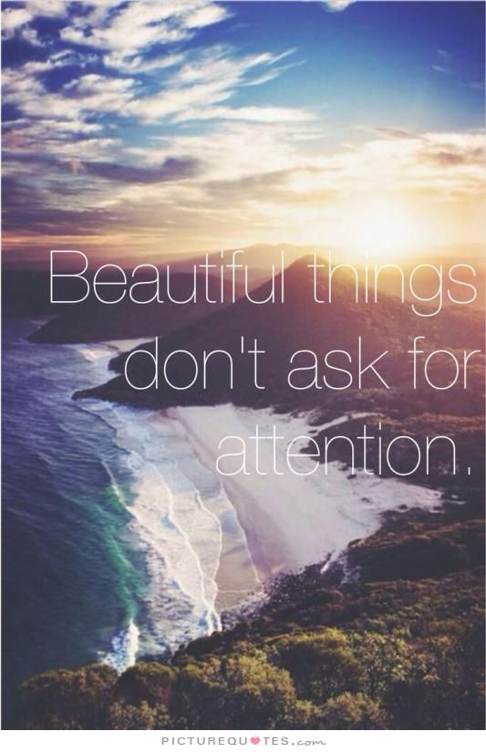 Beautiful things don't ask for attention. Picture Quotes.