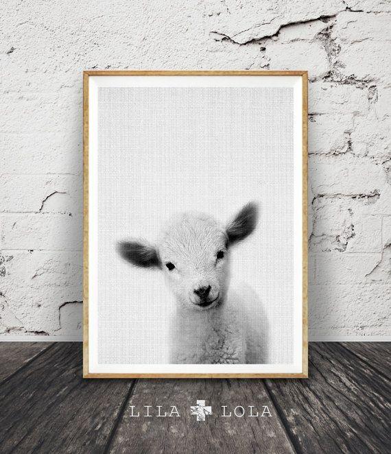Nursery Animal Print Cute Lamb Print Printable Wall by LILAxLOLA