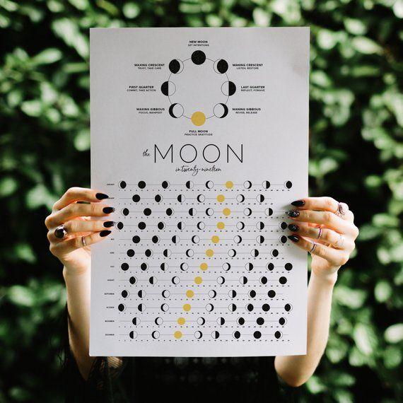 2019 Moon Calendar Etsy Moon Calendar Calendar Lunar Calendar