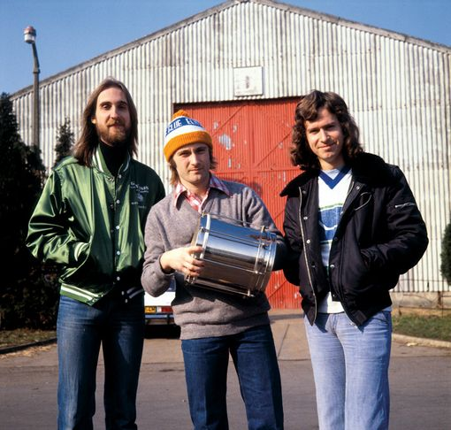 "Mike Rutherford, Phil Collins and Tony Banks (from left) in February 1978 on the set of the ""Follow You, Follow Me"" video. The song was their first worldwide hit."