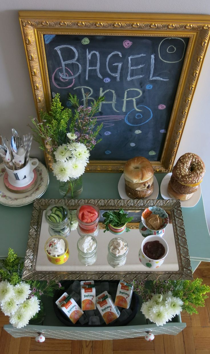 Brunch Shower Ideas: Bagel Bar, awesome idea with different fruit spreads, flavored cream cheeses, proteins, cheeses, and maybe a toaster if people wished to do that