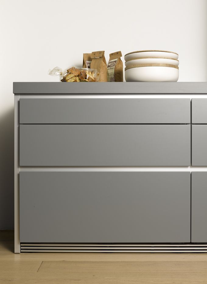 bulthaup b1 comes in a new finish: stone grey! with aluminium surround it looks very architectural