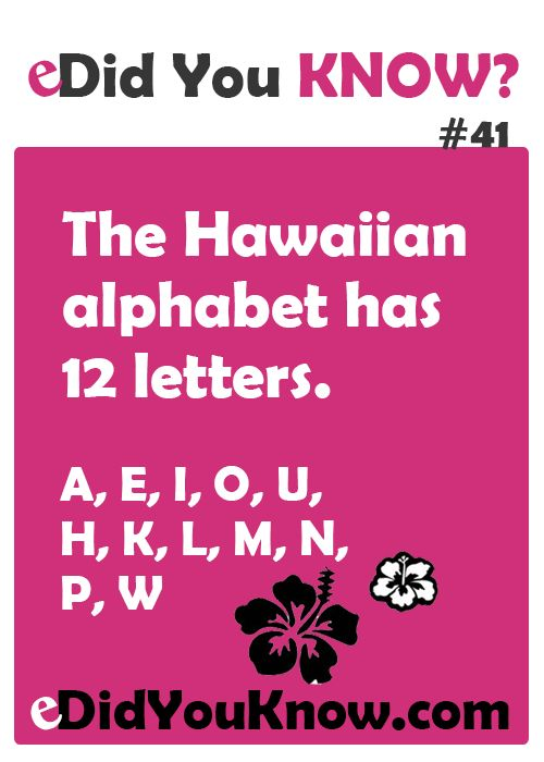 Alphabet is short because Hawaiian is spoken from the heart.