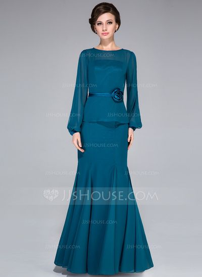 Trumpet/Mermaid Scoop Neck Floor-Length Chiffon Mother of the Bride Dress With Flower(s) (008042313) - JJsHouse