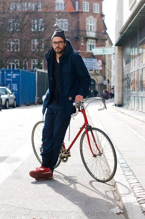 #Winter street style, blue top to bottom with red New Balance kicks.