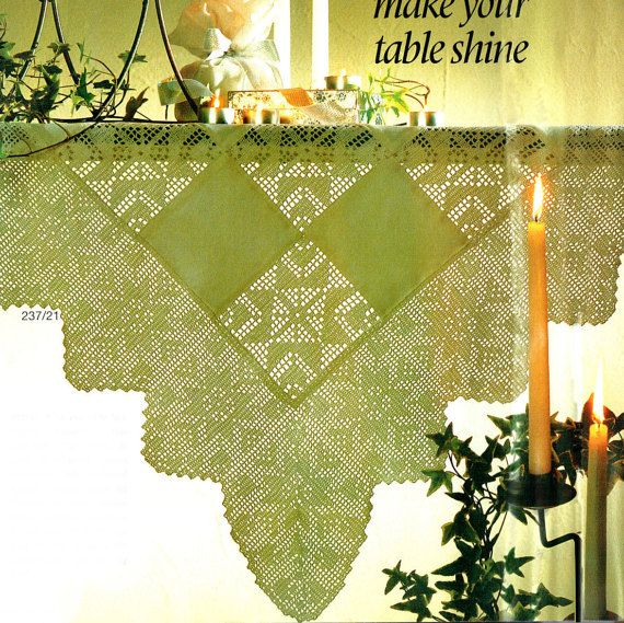 Last-Minute CHRISTMAS Stunning 'Falling Snowflakes' Tablecloth in Ultra-Lacy Filet Crochet Pattern, Victorian, Heirloom prettyx