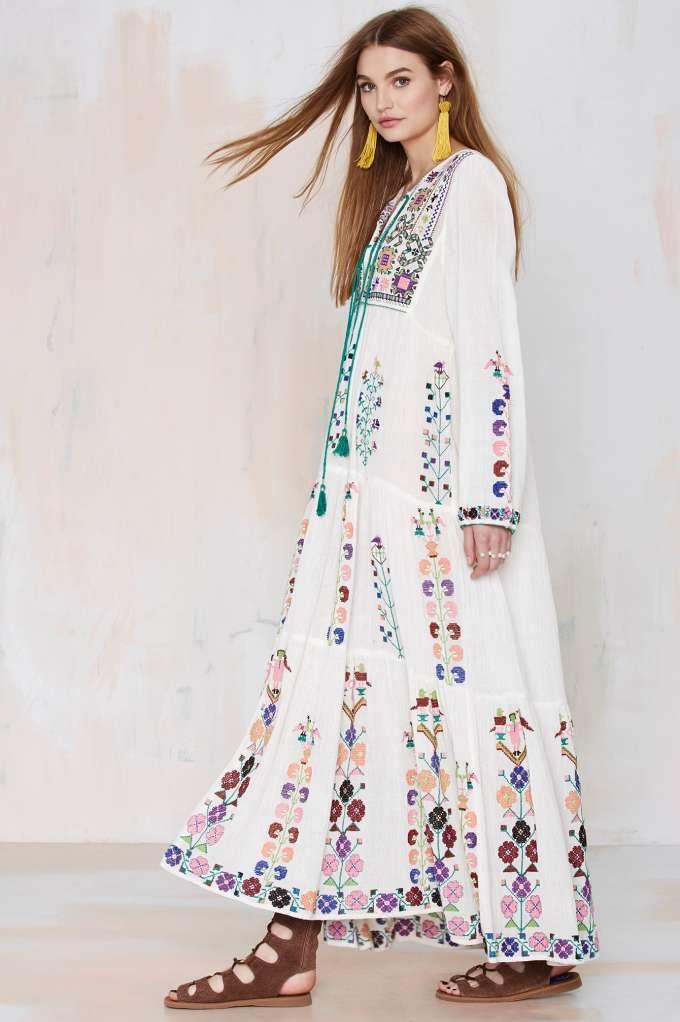 Blue Barcelona Embroidered Dress - Day | Midi + Maxi