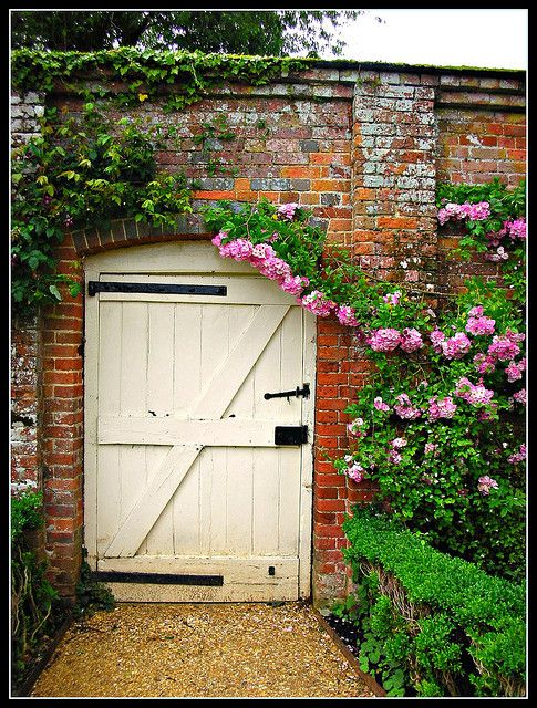 My dream garden--seriously. Tall brick walls to hold the warmth and support the roses. And that door! (This is Mottisfont Abbey by the way.)