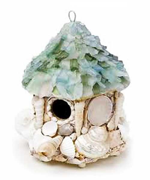 домик из ракушек и морских стклышек, поделки для детей