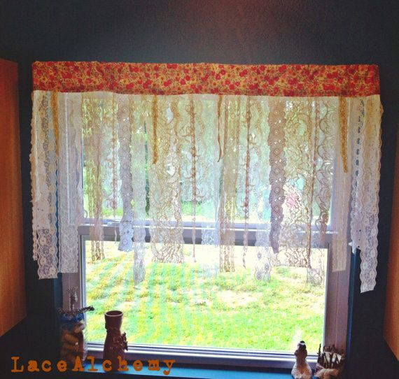 Make your kitchen smile :) Vintage Lace Shabby Chic Floral Kitchen Gypsy Cafe by LaceAlchemy, $35.00