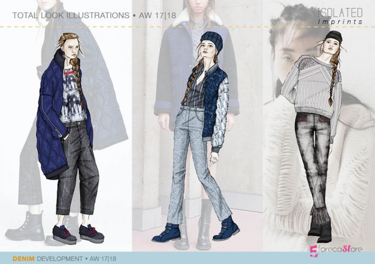 Denim ILLUSTRATIONS for Fall winter 2017-18, Isolated   imprints Mega trend, Trend forecasting by 5forecaStore