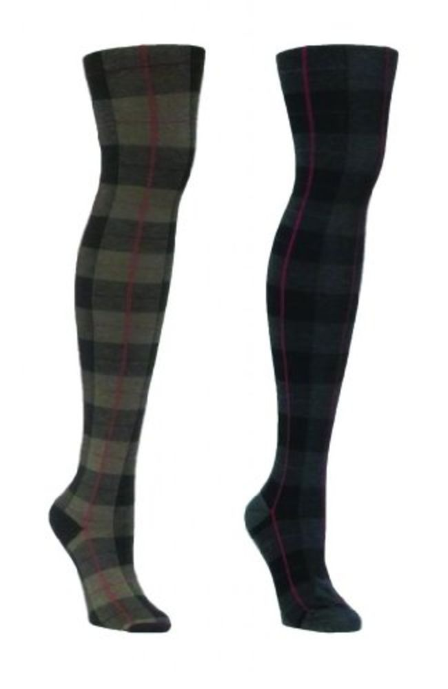 MeMoi Women's Legwear Plaid Overlay Sweater Tights #MeMoi #Tights