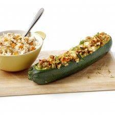 Gevulde courgettes met noten en feta (Vegetarisch)