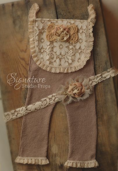 Nutmeg brown vintage lace romper & tieback set - Signature Studio Props