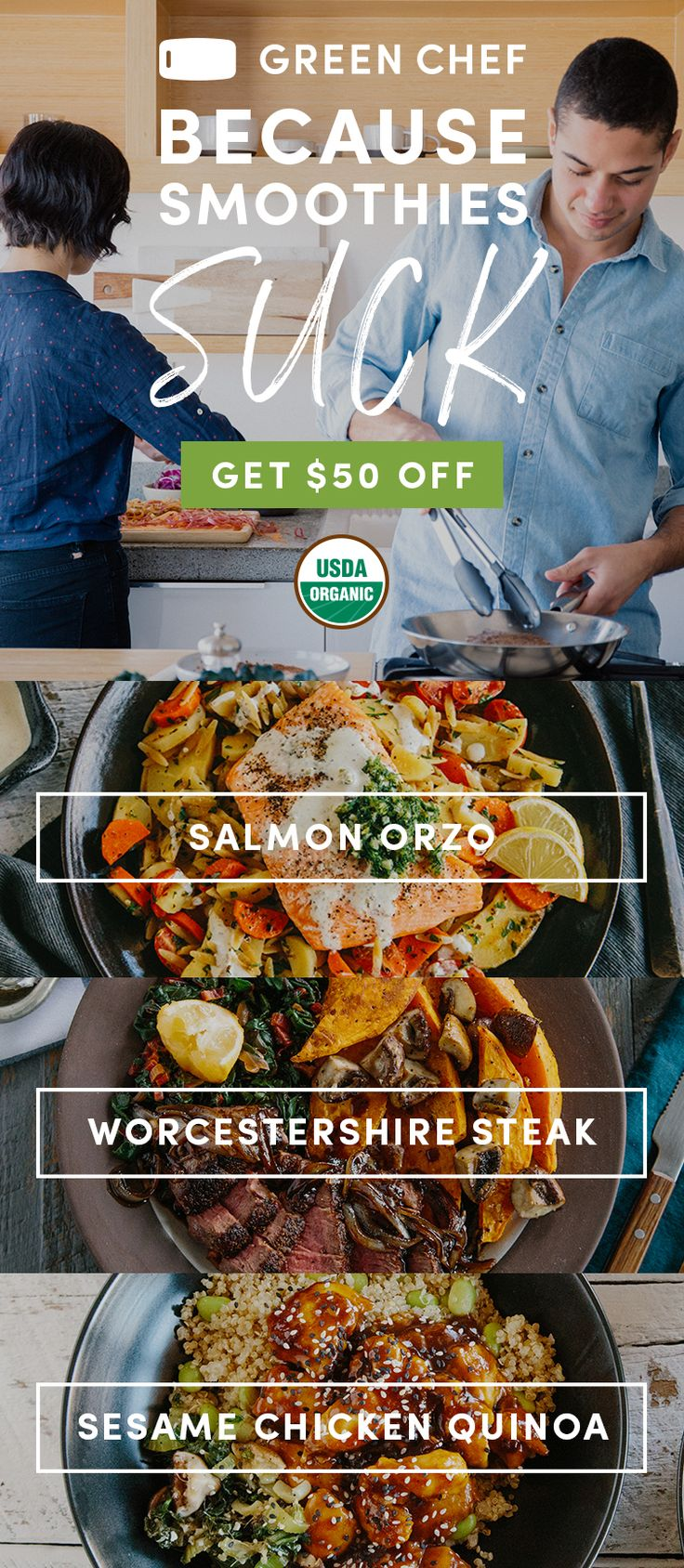 Who says living healthy means eating boring? Not us! Treat yo'self with organic, delicious, easy-to-cook meals from Green Chef. We deliver organic ingredients and 30-min recipes directly to you. Fork yeah! Sign up today for $50 OFF