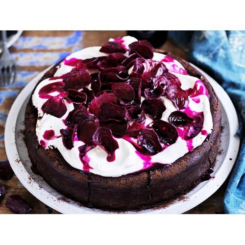 Flourless chocolate beetroot cake recipe - By Australian Women's Weekly, This spectacular cake is topped with sweetened crème fraîche and candied beetroot chips.