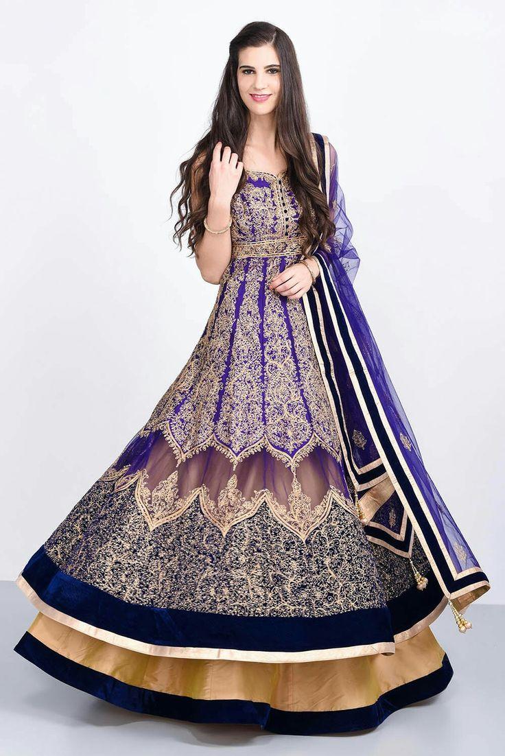 JIYA BY VEER - purple all over embroidered lehenga set