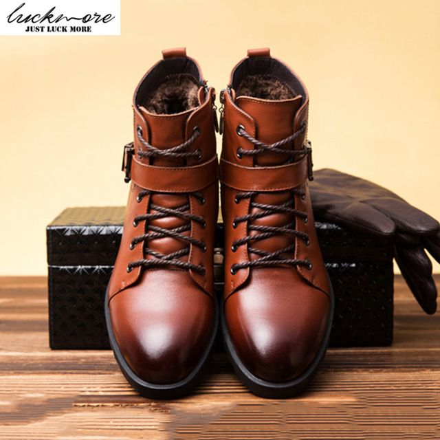 Check it on our site High Quality Genuine Leather Men Snow Boots Winter Warm Comfortable Velvet Belt Black Brown Man Shoes Ankle Lace Up Male bota just only $53.96 with free shipping worldwide  #menshoes Plese click on picture to see our special price for you