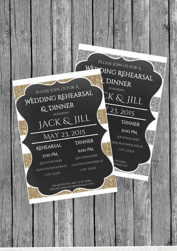 Rehearsal Dinner Invitation, Rehearsal Dinner Invite, Rustic Chalkboard Wedding, DIY Printable Rehearsal Dinner Invite - Gold or Silver