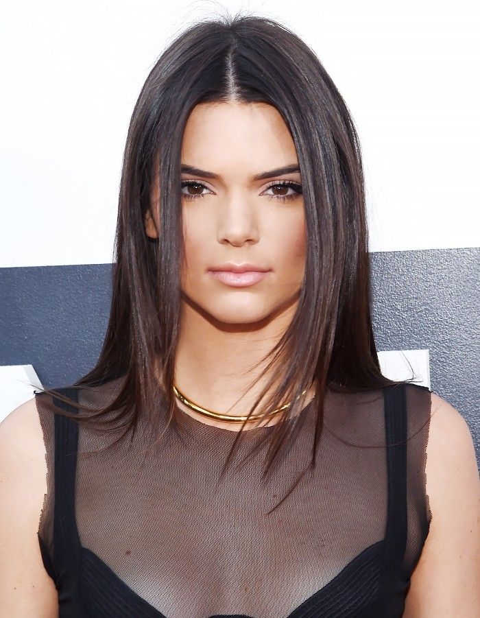 8+Ways+to+Style+Center-Parted+Hair,+Courtesy+of+Kendall+Jenner+via+@ByrdieBeauty