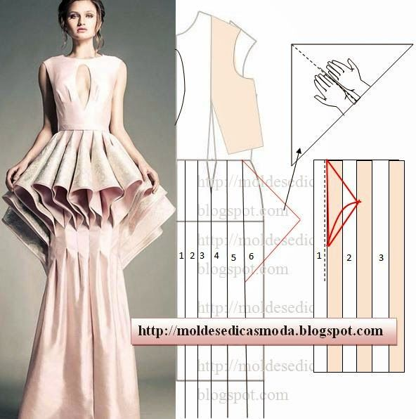 Triangle fold gown details