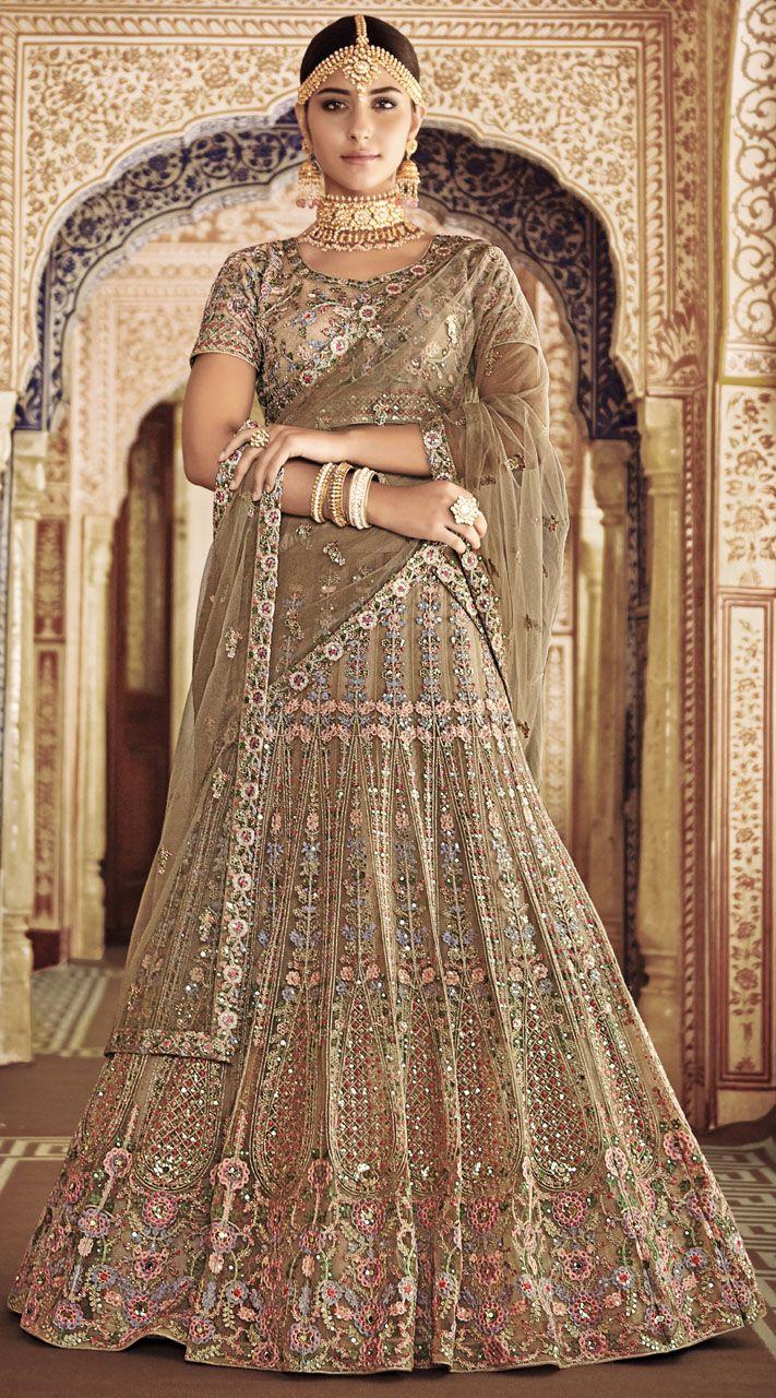 Brown Sequins Silk Bridal Lehenga Choli