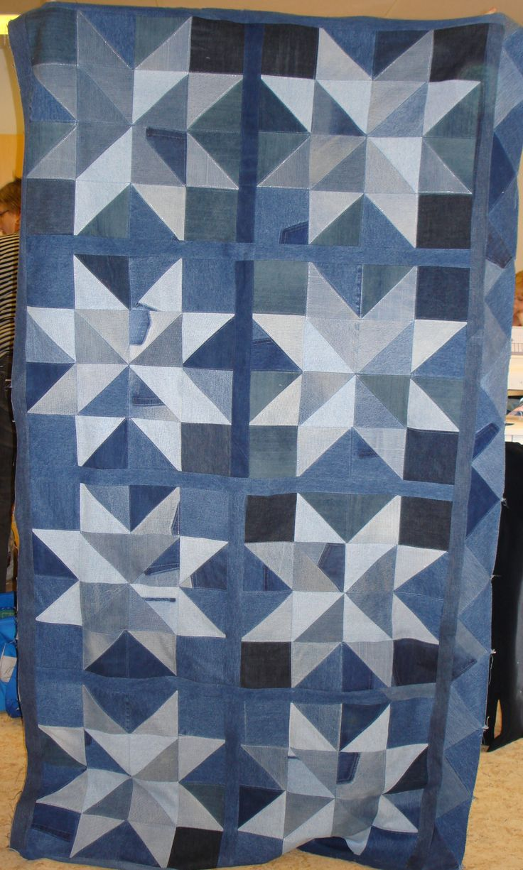 Jeans quilt.  This could easliy be cut with #AccuQuilt dies.