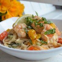 Shrimp Scampi Linguine With Roasted Cherry Tomatoes, Fresh Basil and Lemon