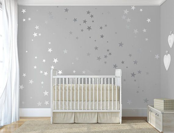 Silver confetti stars  Stick on Wall Art Silver vinyl wall decal sticker stars Silver star decal set for baby nursery By  DecalIsland-SD 092