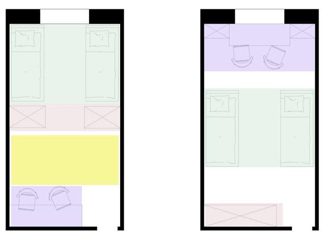 Детская, где живут двое детей требует еще более обдуманного подхода в планировке, чтобы каждый ребенок имел личное пространство и не чувствовал себя обделенным. При благоустройстве детской комнаты необходимо учитывать, что для ребенка она является спальней, кабинетом, местом отдыха и приема гостей.