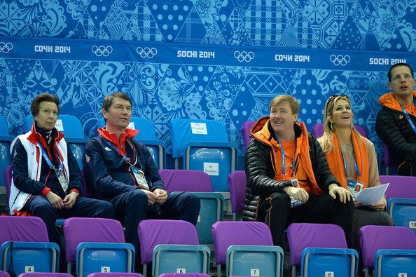 Timothy Laurence Photos - (L-R) Princess Anne, The Princess Royal, Vice Admiral Sir Timothy Laurence, King Willem-Alexander of the Netherlands and Queen Maxima of the Netherlands attend the Short Track on day 3 of the Sochi 2014 Winter Olympics at Iceberg Skating Palace on February 10, 2014 in Sochi, Russia. - Winter Olympics: Short Track Speed Skating