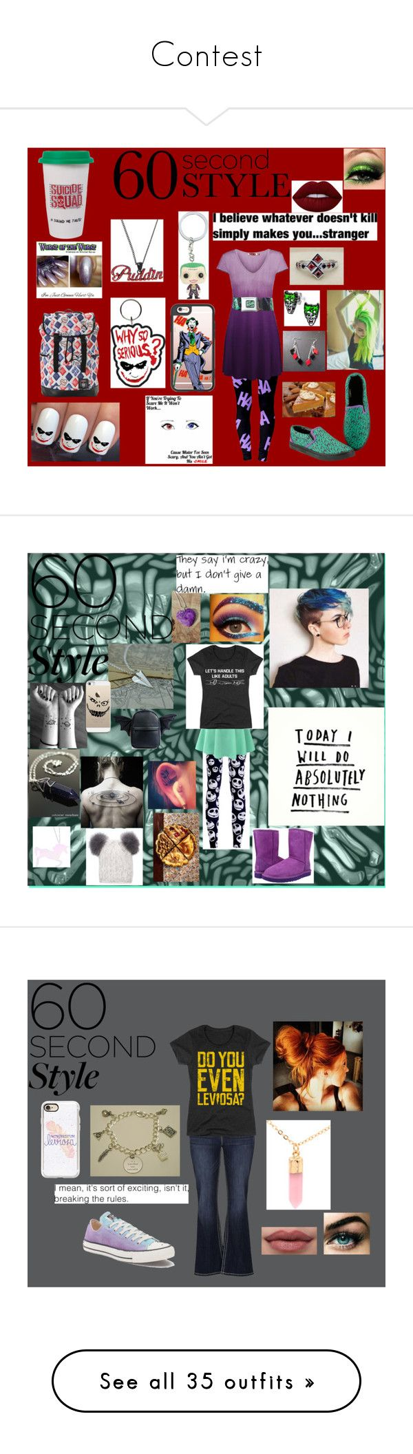 """Contest"" by sydcoleman-star on Polyvore featuring Hot Topic, DC Comics, Casetify, Lime Crime, joker, familydinner, LE3NO, Current Mood, UGG Australia and Curiology"