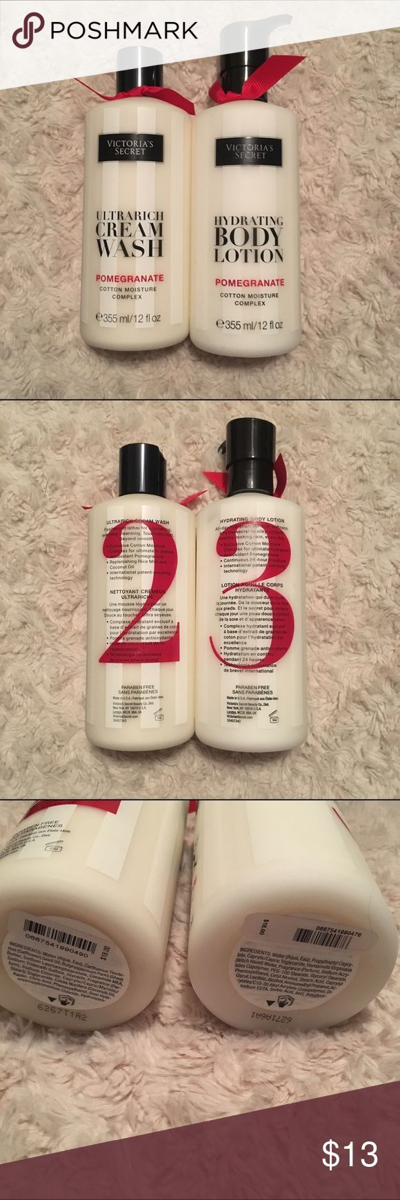 Victoria's Secret body care collection Victoria's Secret body care collection in pomegranate. Brand new, never used. It is the cream body wash and moisturizing body lotion. Each is priced at 18$ normally. Victoria's Secret Makeup