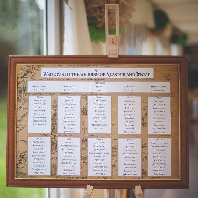Stijlvolle aankondiging van de tafelindeling. Wees welkom! // Fotograaf: Wit Photography // Girls of honour