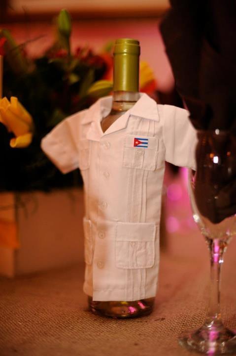 Dressed up wine bottle in guayabera!